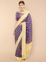 Dark Blue Handwoven Pure Georgette Jaal Khaddi Banarasi Saree with Lime yellow borders