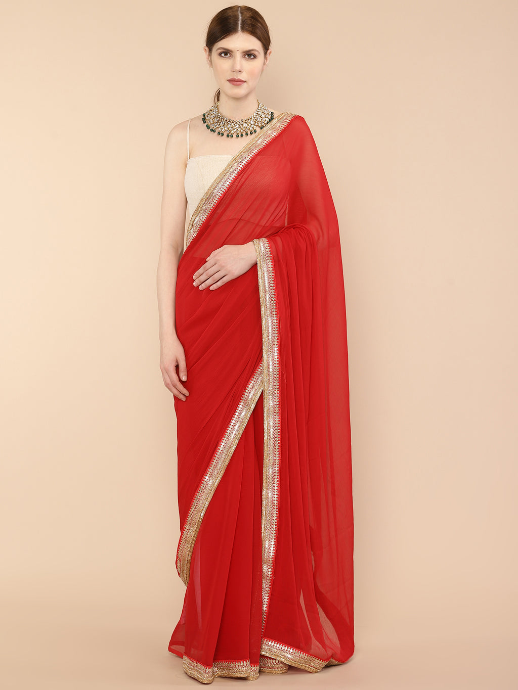 Red Chiffon Saree with embroidered border