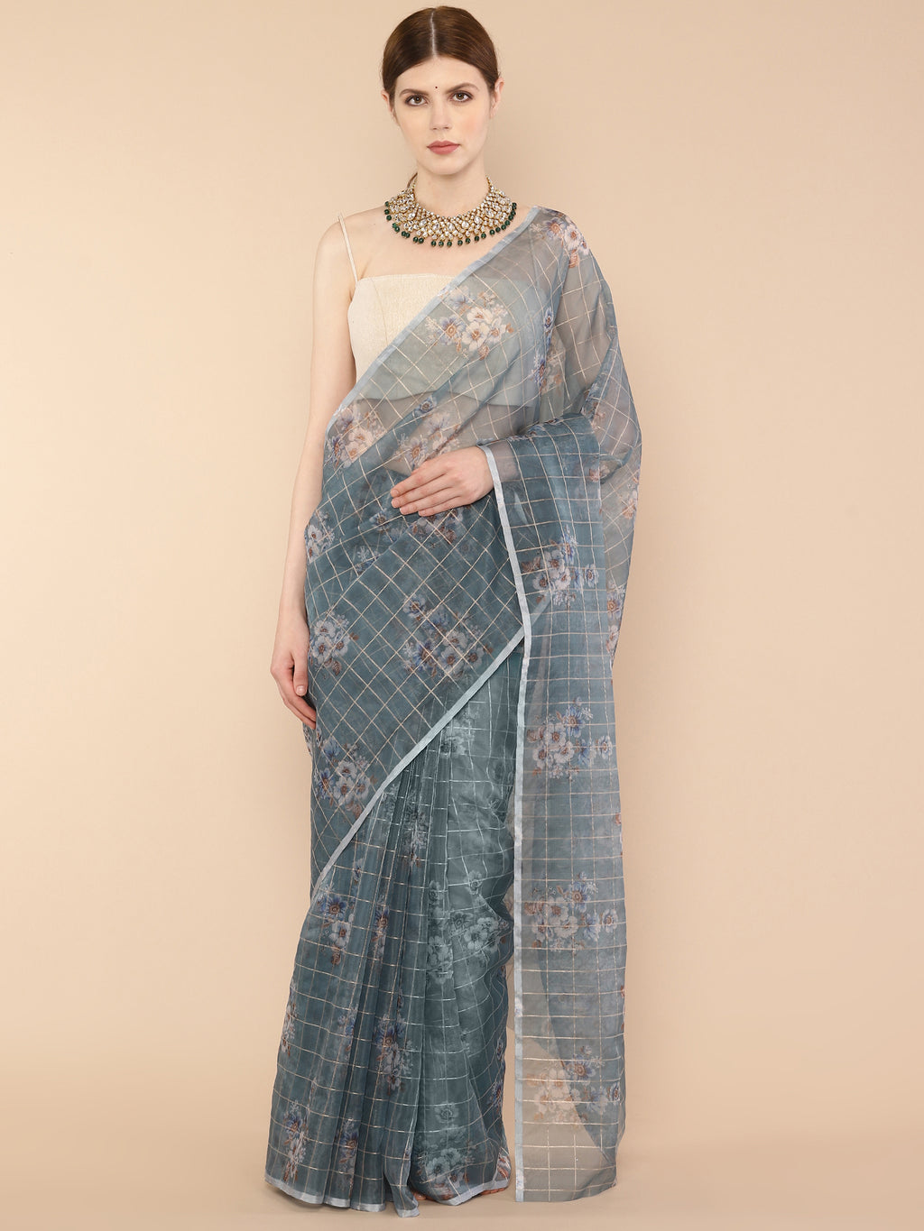 Ice blue checked Floral Printed Pure Organza Saree