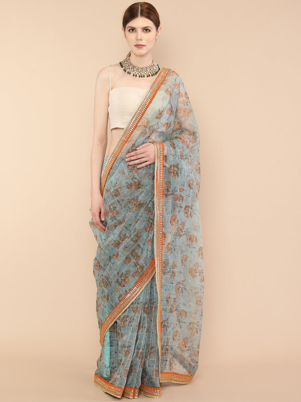 Bluish Grey Pure Organza Saree with Embroidered borders and floral prints