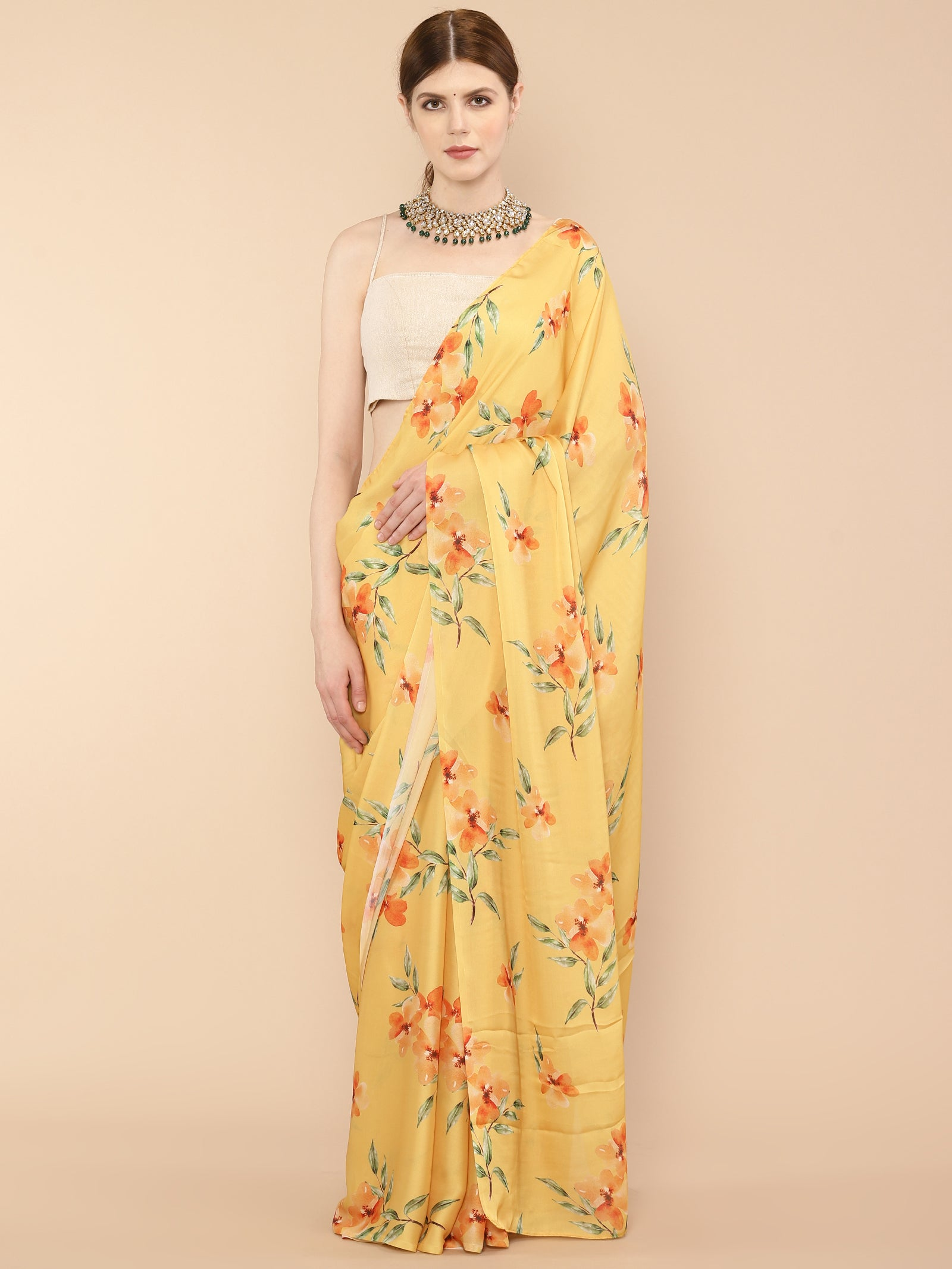 Yellow Satin Georgette Floral Printed Saree