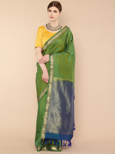Charteuse Green Pure Silk Kanjivaram Saree