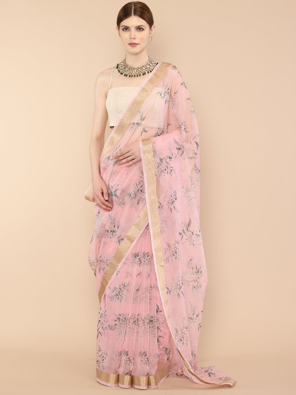 Peachy pink floral Pure Organza Saree with Zari border
