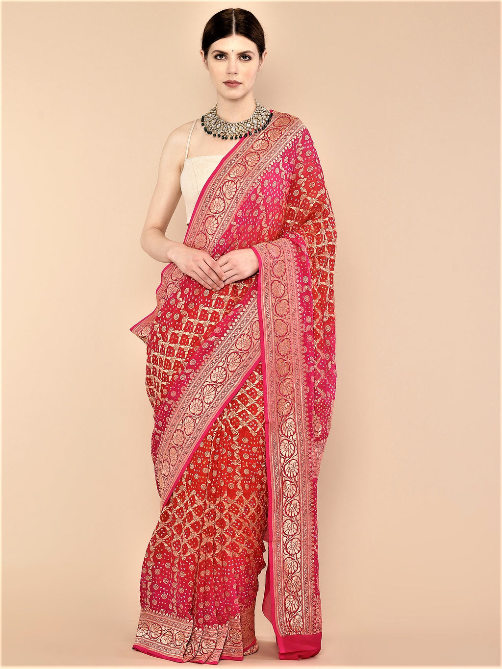 Handwoven Pure Georgette Khaddi Banarasi Bandhej Saree in Rani pink and Red ombre dye