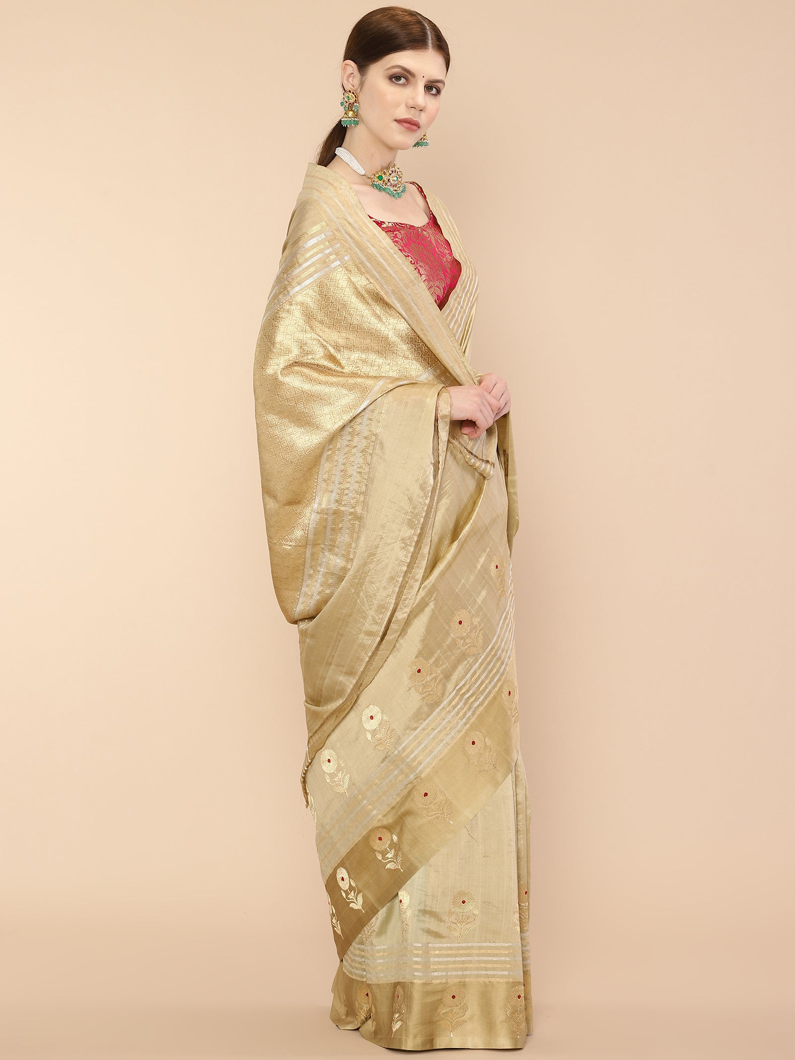 Handwoven Golden Beige Banarasi Saree