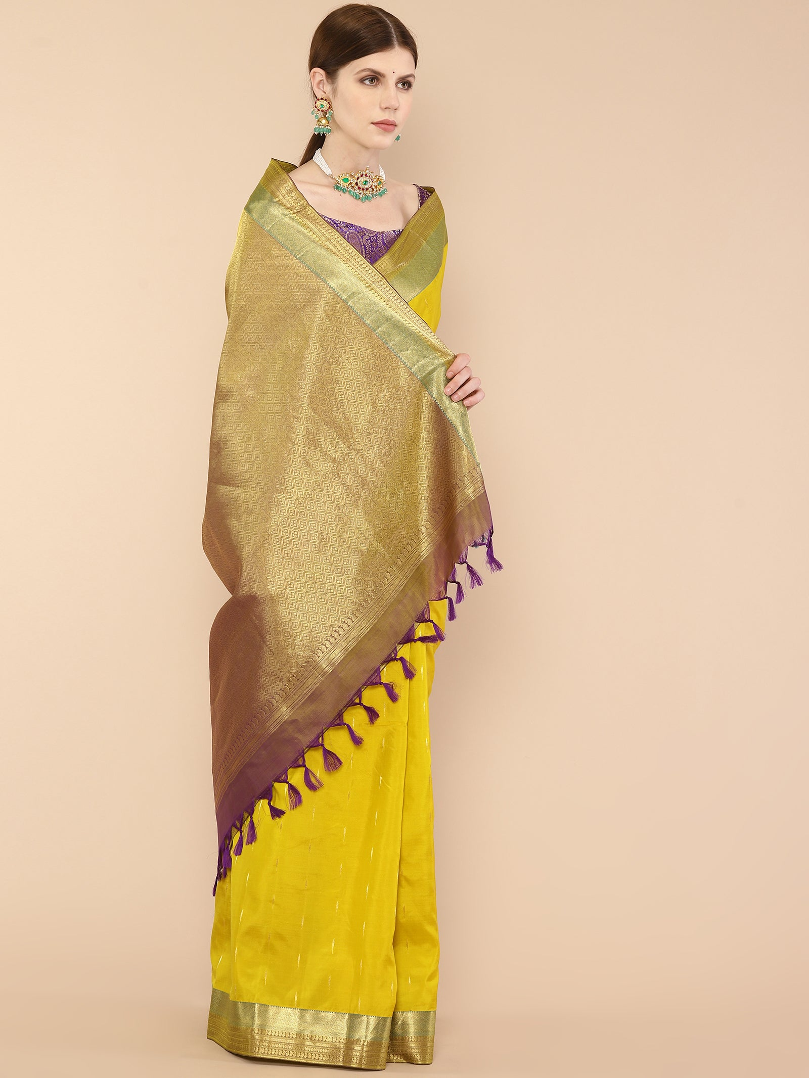 Yellow Pure Silk Kanjivaram Saree with long leaf motif buttis