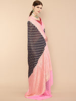 Deep Purple Handwoven Pure Georgette Khaddi Banarasi Saree with intricate zari border