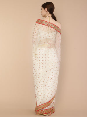 Ivory Pure Organza Saree with handwork embroidered border