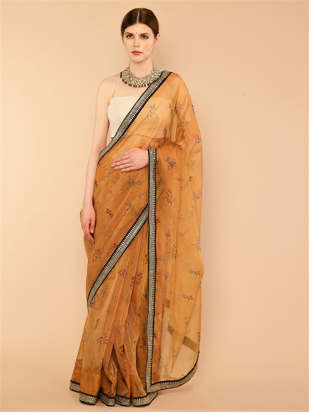 Mustard Yellow floral Pure Organza Silk Saree with Black Velvet Embroidered Border