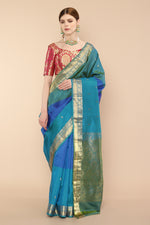 Blue Kanjivaram Pure Silk saree with floral buttis