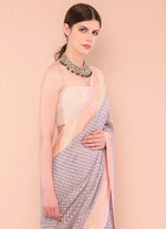 Grey Handloom Pure Georgette Khaddi Banarasi Saree with Paisley motifs