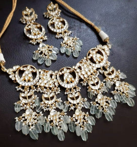 Mint Kundan Necklace Set