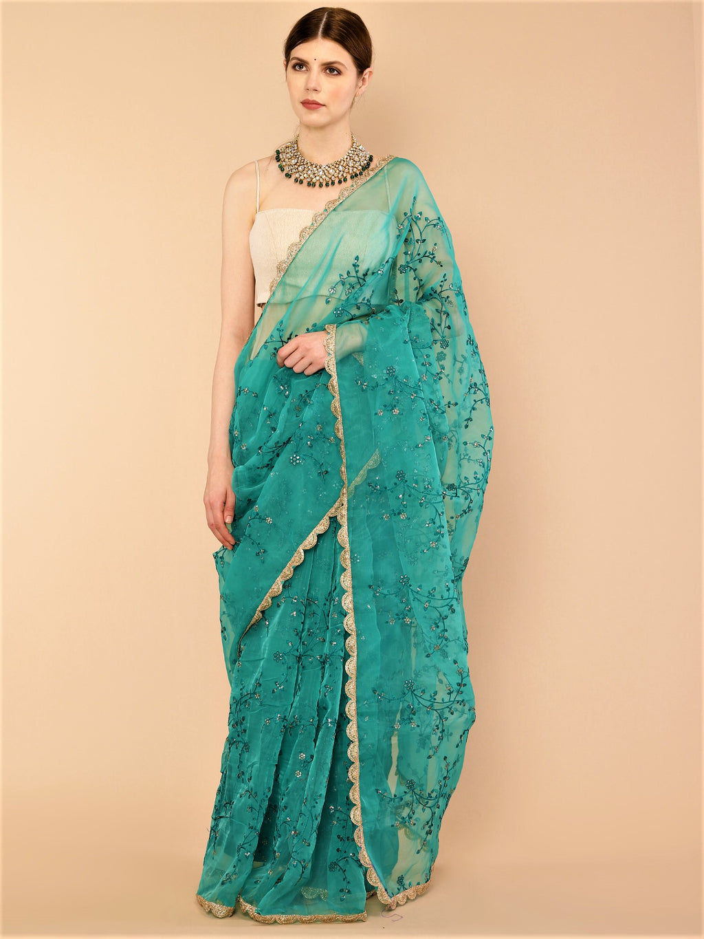 Sea Green Embroidered Pure Organza Silk Saree