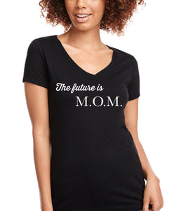 The Future is M.O.M ss v-neck fitted t-shirt