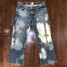 Load image into Gallery viewer, Up-cycled bleach tie-dye distressed denim