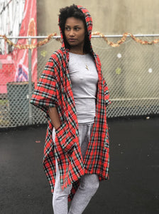 Fleece lined hooded KIKOY+PLAID blanket wrap/scarf
