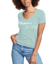 Load image into Gallery viewer, The Future is M.O.M ss v-neck fitted t-shirt