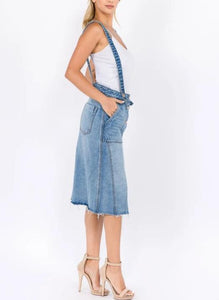 Distressed denim overalls skirt with straps
