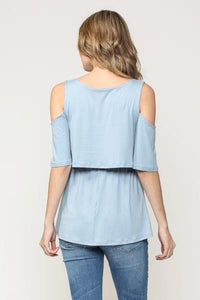 Cold shoulder cut-out front panel nursing top