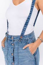 Load image into Gallery viewer, Distressed denim overalls skirt with straps