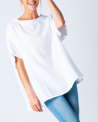 Textured cotton boxy loose rough edging top
