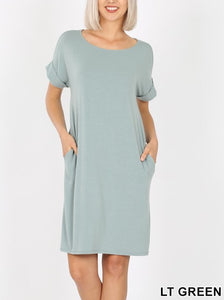 Rolled Short Sleeve Round Neck Dress