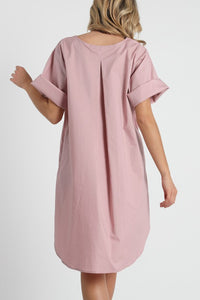 A-line cuffed sleeve high-low hem shirt dress