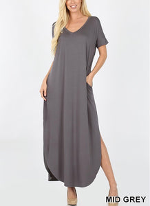 Side Slit V-neck (multi-wearable) maxi dress