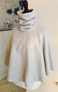Turtleneck poncho sweatshirt fleece cape