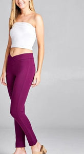 Seagull shaped waistband ponte leggings