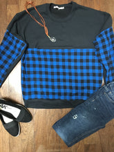 Load image into Gallery viewer, Plaid block invisible zipper sweatshirt