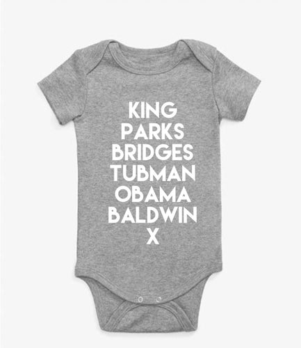 Baby Historical Figures (BHM inspired) onesies