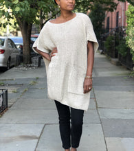 Load image into Gallery viewer, Boatneck poncho+cape soft woven ribbed knit sweater