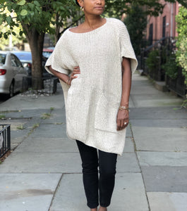 Boatneck poncho+cape soft woven ribbed knit sweater