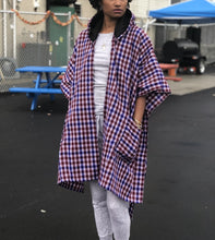 Load image into Gallery viewer, Fleece lined hooded KIKOY+PLAID blanket wrap/scarf