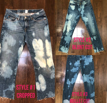 Load image into Gallery viewer, Up-cycled bleach tie-dye distressed denim CROPPED