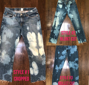 Up-cycled bleach tie-dye distressed denim CROPPED