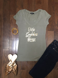 Goddess (3 different ways) v-neck fitted ss t-shirt