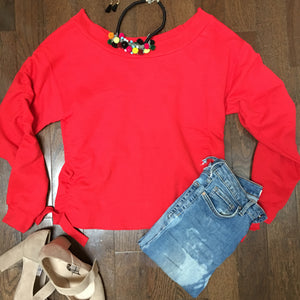 Boatneck embellished side ruching sweatshirt