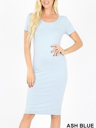 Classic fitted body sleek short sleeve mini dress