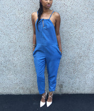 Load image into Gallery viewer, Drawstring halter bodice gathered waist linen jumpsuit