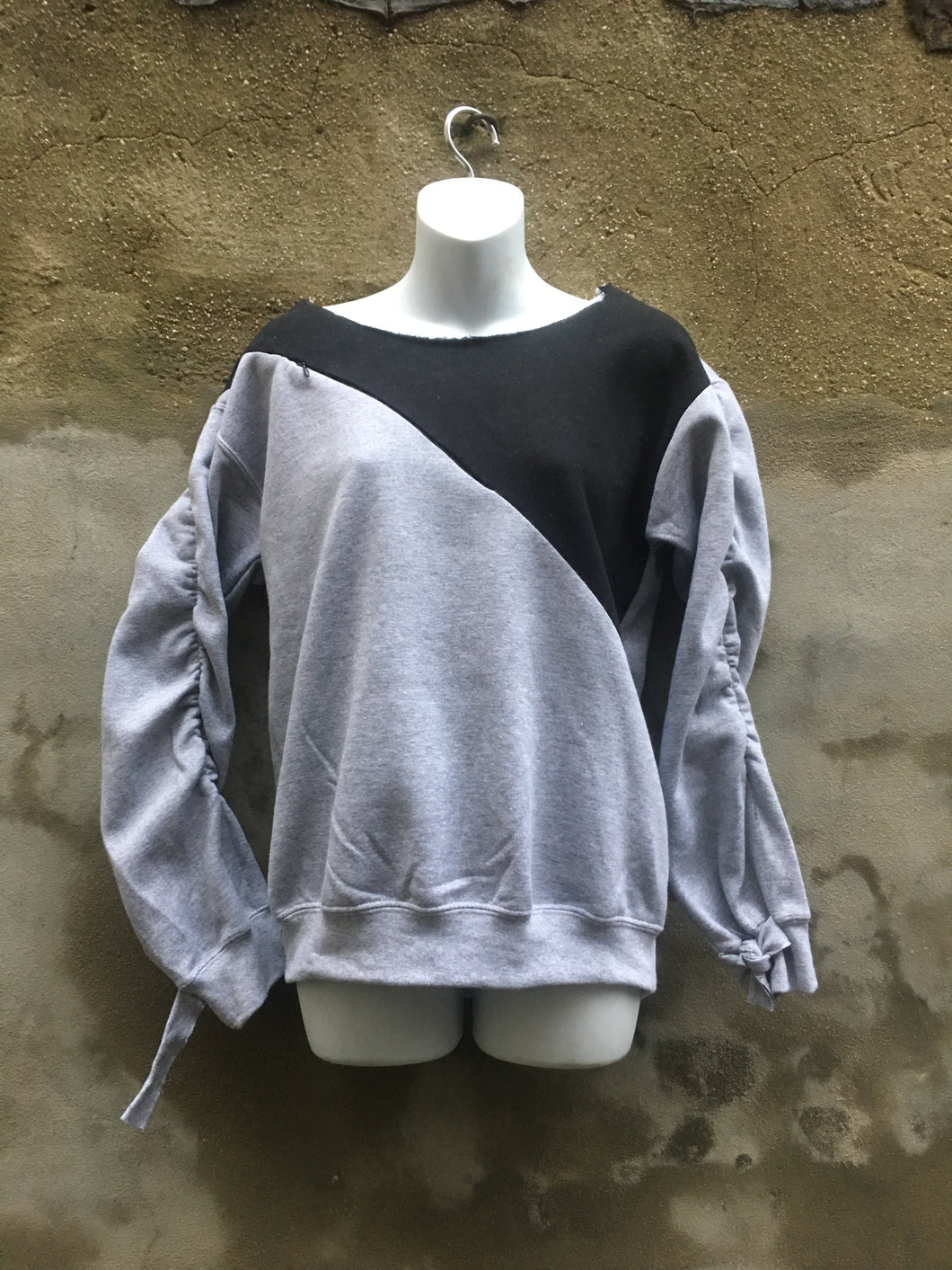Pull-over scoop-neck invisible zipper embellished color block strip sweatshirt