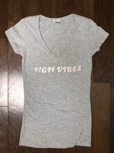 Load image into Gallery viewer, Mom Vibes ss fitted crewneck+v-neck t-shirt