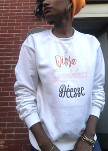Goddess in 3 crewneck sweatshirt