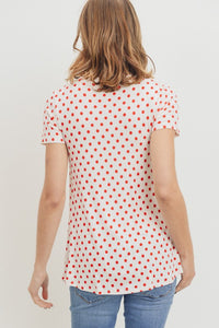 Polka Dot front cross panel nursing top