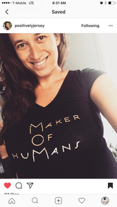 "MOM ""Maker Of HuMans"" v-neck short sleeve fitted t-shirt"