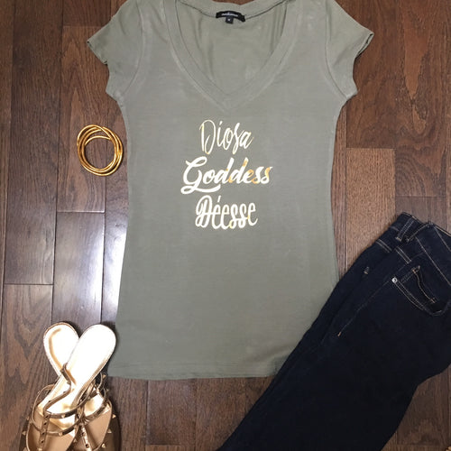 Goddess empowering WOMEN v-neck stretch fitted tee