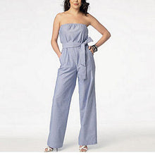 Load image into Gallery viewer, strapless sash tie gathered waist jumpsuit