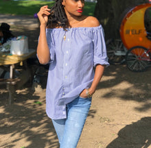 "Load image into Gallery viewer, Gathered ""off the shoulder"" button down pinstriped up-cycled blouse"