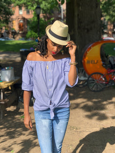 "Gathered ""off the shoulder"" button down pinstriped up-cycled blouse"